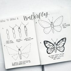 likerklikk, 9 kommentarer Liz Bullet Journal (bonjournal_) p Happy weekend everyone! With Spring around the corner, I thought I would do a tutorial on how to Doodle Drawings, Easy Drawings, Doodle Art, Zen Doodle, Drawing Sketches, Pencil Drawings, Sketching, Bujo Doodles, Butterfly Drawing