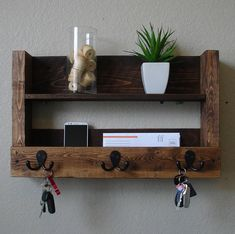 Rustic Entryway 3 Hanger Hook Coat Rack with Shelf and Mail Phone Key Organizer by KeoDecor on Etsy