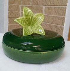 Royal Haeger Green Covered Dish with Lily Flower R431  Candy Dish/Trinket Dish Green  Collectible Pottery Ceramic  Art - 1950s by ClassyVintageGlass on Etsy