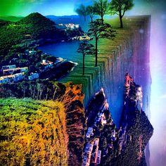 "@up_high_reality's photo: ""The end of the world  #plpix #wiggteam #europe #spain #mirrorgram #wowfx #falling #tadaa #rainbow #water #trees #sea #igers #digitalart #world"""
