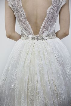 Absolutely stunning low v-back wedding gown.  Swooned: Francesca Miranda�??s Spring 2014 Collection