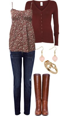 """Cute Cute Cute Fall Outfit"" by natihasi on Polyvore// brown bag / pink necklace"