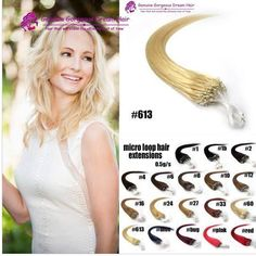 "Loop Micro Ring Bead Tip 100% Remy Human Hair Extensions 16""18""20""22""24""26"""