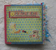 Baby's first year paper bag scrapbook album: milestones