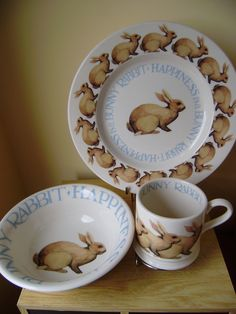 Happiness is a Bunny Set of Baby Mug, Baby Bowl and 8.5 inch Plate 2012 (Discontinued)