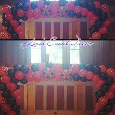 Lady bug balloon arch