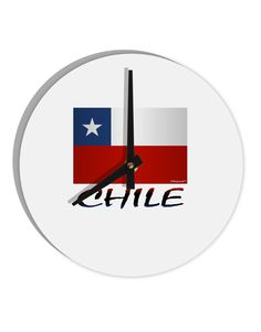 """Chile Flag 8"""" Round Wall Clock"""