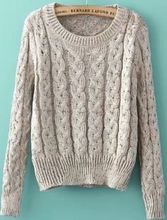 Shop Grey Round Neck Long Sleeve Cable Knit Sweater online. Sheinside offers Grey Round Neck Long Sleeve Cable Knit Sweater & more to fit your fashionable needs. Free Shipping Worldwide!