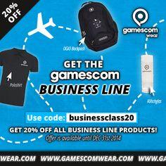 "Get the gamescom Business Line - jetzt mit 20% Rabatt! Gutschein-Code: ""businessclass20"" #workhardplayhard #gamescom"