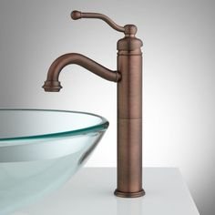 signature hardware - Leta Single Hole Vessel Faucet with Pop Up Drain