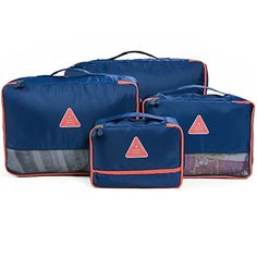4 Set Packing CubesTravel Luggage Packing Organizers with Laundry Bag Darkblue -- Details can be found by clicking on the image.