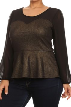 Plus Size Under The Moonlight Sheer Peplum Top Plus Size Women's Tops, Plus Size Fashion, Peplum, Moonlight, Blouse, Sleeves, Sweaters, Collection, Night