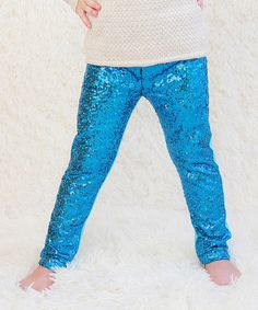 Look what I found on #zulily! Turquoise Metallic Sequin Pants - Infant, Toddler & Girls #zulilyfinds