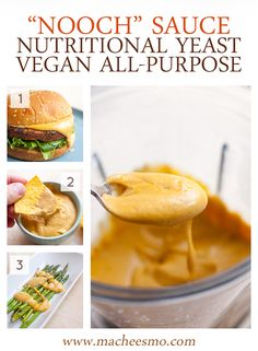 Nooch Sauce: A beautiful creamy and savory sauce made with nutritional yeast and a few other delicious add-ins. Perfect for SO many uses. I like it on burgers, with chips, or on veggies!   macheesmo.com