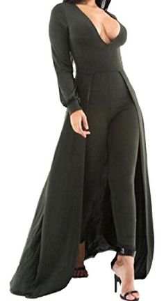 a2a5b3475c1f Women V Neck Long Sleeve Playsuit Maxi Skirt Overlay Bodycon Long Jumpsuit  Ro    See this great product.