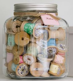 Vintage Spools of Thread in a Glass Jar