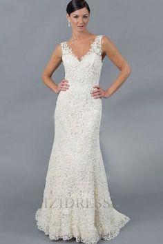 Trumpet/Mermaid V-neck Lace A-Line Wedding Dresses
