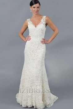 Trumpet/Mermaid V-neck Lace A-Line Wedding Dresses