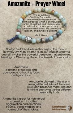 "Amazonite is a ""Stone of Success and Abundance"", attracting focus and good luck. Om Mani Padme Hum Prayer Wheel: Amazonite Yoga Mala Bead Bracelet"