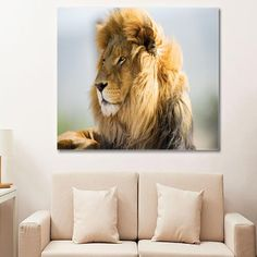 Posters and Prints Printed Animal Lion Paintings Picture Wall Art on Canvas for Living Room Home Decorations or Hotel Stretched Wooden Framed Green (16 x 20 inches)
