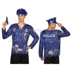 Disfraz camiseta 3 D Policía para hombre - Dresoop.es