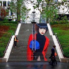 by @thetravelingcochina #awesome #stairs #scala #portrait #girl #showgirl #cabaret #drawing #painting #graffiti #sprayart #spraypaint #arteurbano #streetart #graphicdesign #contemporaryart