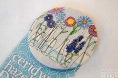 Flower Vases Fabric Badge Large Badge Pin Badge by ceridwenDESIGN
