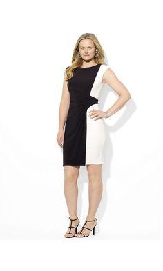 Lauren Ralph Lauren Plus Plus-Size Two-Toned Boatneck Dress Black/White