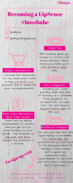 Learn all about how to become a SeneGence/LipSense Distributor boss babe right here :)  $55 for a year membership, giving you access to 20 to 50% off everything, plus the chance to earn income, commissions, fun makeup, and have a great time :)