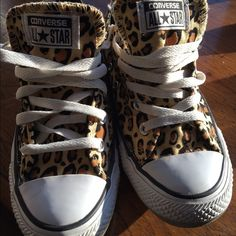 Converse Tennies Leopard Print size 6 Worn 1 time. Like New! Super Cute! Injured my leg & One Of My Feet Swollen & Can't Wear Comfortably.  Converse Shoes Athletic Shoes