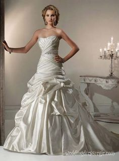 Strapless Full Length taffeta Wedding Ball Gown Satin Strapless Wedding Dress LWS1301 $175