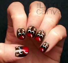 Christmas nails, reindeer, rudolph, red nose, cute,