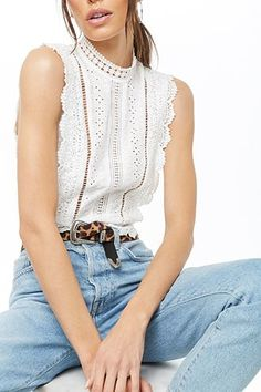 Product Name:Crochet Mock Neck Top, Category:top_blouses, Forever 21 Outfits, White Crochet Top, Summer Outfits, Cute Outfits, Blouses For Women, Ladies Blouses, Lace Tops, Mock Neck, Latest Trends