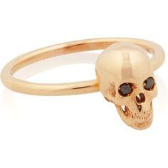 Ileana Makri Skull 18-karat rose gold diamond ring ($1,380) ❤ liked on Polyvore