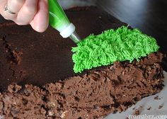 Add-g rass-to-top-of-Minecraft-grass-block-cake Do your kids LOVE Minecraft? Check this out! How to Make a Minecraft Grass Block Cake http://buff.ly/1zCttSq
