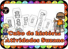 Cubo de história- produção de texto - Atividades Adriana Peanuts Comics, Professor, Story Cubes, Special Education, 3 Year Olds, School, Christian Kids, Classroom, Short Stories