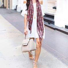 Barneys white off-the-shoulder dress + pretty scarf + neutral sandals