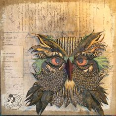 Paper-piecing owl canvas by Laura Denison