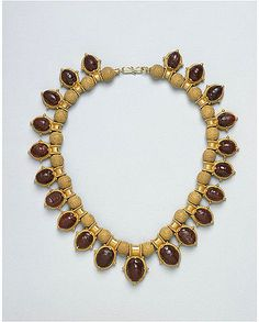 Castellani Gold and Carved Carnelian Scarab Necklace.  Victoria & Albert Museum Collection.