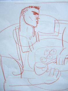 Clive Hicks-Jenkins artwork. The boy in the deli