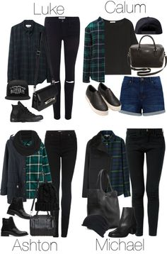 5SOS Styles: Green Flannel by fivesecondsofinspiration featuring black boots