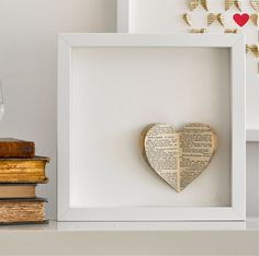 Bespoke Vintage Heart Framed Picture by sarah & bendrix - Book Pages heart Book Crafts, Arts And Crafts, Diy Crafts, Heart Frame, Heart Crafts, Vintage Heart, Paper Hearts, Home And Deco, Heart Art