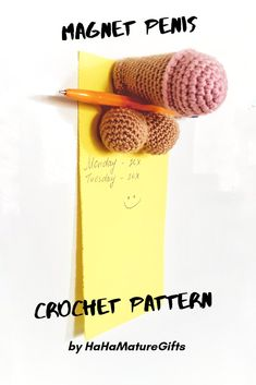 This is a PATTERN. A DIY tutorial to make your own. This listing is not the finished item. Penis fridge magnet crochet pattern PDF. English USA. Pattern is easy to follow and fast to make! It required beginner crochet level. For this pattern you will need to know how to crochet in the round, the single crochet stitch and how to increase and decrease. Pattern is in English on 5 pages, has a 10 of pictures