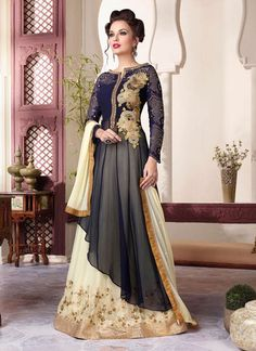 Genuine attractiveness will come out of your dressing trend with this blue georgette and net a line lehenga choli. This charming attire is showing some fantastic embroidery done with embroidered, resh...