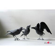 Set of Three Ravens  Bird Sculpture  FREE Shipping by doudoubirds