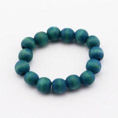 Handmade turquoise folk style wooden beads bracelet