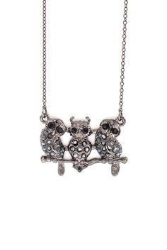 Triplet Owl Necklace in Hematite