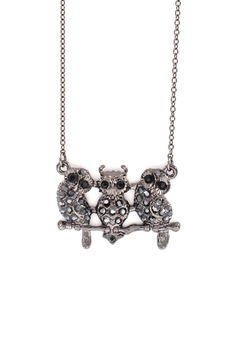 Triplet Owl Necklace in Hematite on Emma Stine Limited