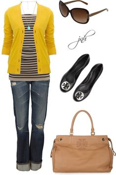 b311249ccf0 Striped Tube Top with Tory Burch Cardi and more.