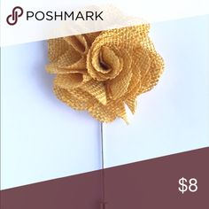 "Mustard Yellow Burlap Ribbon Flower Lapel Pins As a modern man's boutonniere, our Mustard Yellow burlap flower lapel pins are a nice and light material flower that compliment spring and summer suits very well.  The flowers are roughly 1.5"" - 2"" wide. Add a pocket square to your ensemble to complete the look.  Great for weddings, parties, any special occasion that requires the man to look dapper! The Modern Gallant Accessories"